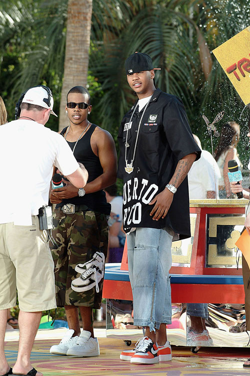 'Melo and R&B singer Mario graced MTV's live show, TRL, at the Hard Rock Casino in Vegas.