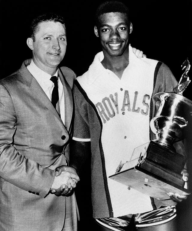 """The 6-5 rookie phenom showed up the veterans and led the Western Conference to a 153-131 rout of the East. Robertson, of the Cincinnati Royals, was named MVP after pouring in 23 points and 14 assists -- a new league record (Bob Cousy previously held the record at 13 assists). But that game was just a blip in Robertson's all-around incredible career. He was the only player in NBA history to average a triple-double, and he did so in just his second year as a pro. As Celtics coach Red Auerbach once said of Big O: """"He is so great he scares me."""""""