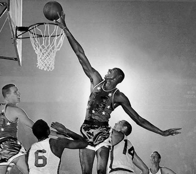 Just as he did throughout his career, Chamberlain dominated in his first All-Star Game, scoring 23 points and grabbing 25 rebounds to lead the East to a 125-115 win in his home arena, Philadelphia's Convention Hall. Chamberlain was the East's top scorer and the game's MVP, and finished his rookie campaign with an average of 37.6 points and 27 rebounds, both regular-season records. He was named both the league's MVP and Rookie of the Year that season. As for the rest of his career, we'll keep it short and say this: The man holds 72 -- seventy-two! -- all-time NBA records.