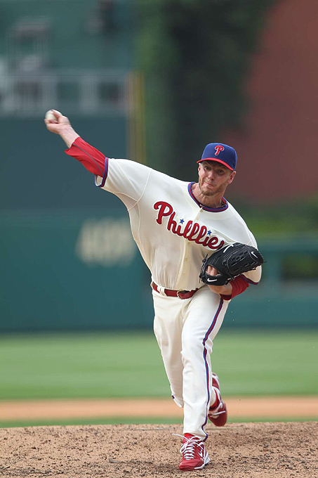 His precision and ability to pitch deep into games make Halladay one of the most feared pitchers in the league. A two-time Cy Young Award winner, Halladay led the majors in wins (21), innings pitched (250.2), shutouts (4), and complete games (9) in 2010. Last year the flamethrower proved he's not only lethal during the regular season, but also during postseason play. After pitching a perfect game against the Florida Marlins last May, the Phillies ace tossed a no-hitter during the NLDS against the Cincinnati Reds--baseball's first postseason no-hitter since 1956.