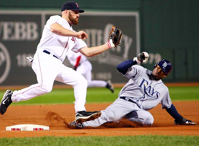 The Rays outfielder tortured future teammate Jason Varitek on the base paths throughout a 5-3 win over his future team, the Boston Red Sox, on May 3, 2009. Crawford set the modern era (since 1901) record but fell one short of the all-time, mark -- George Gore (1881) and Bill Hamilton (1894) each stole seven bases in a game.