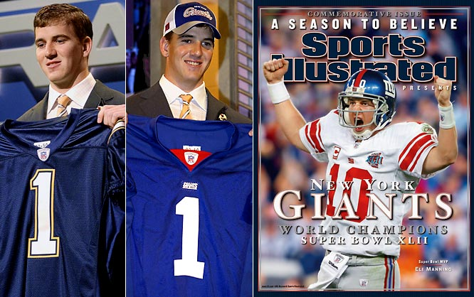 The Giants acquired the QB in a draft-day trade, and his tenure has featured more positives than negatives. The top moment was Manning's MVP performance in Super Bowl XLII as New York knocked off the undefeated Patriots. But he's also led the NFL in interceptions twice (including in 2010, when he tossed 25 picks). Still, New York rewarded him with a six-year, $97.5 million contract extension in 2009.