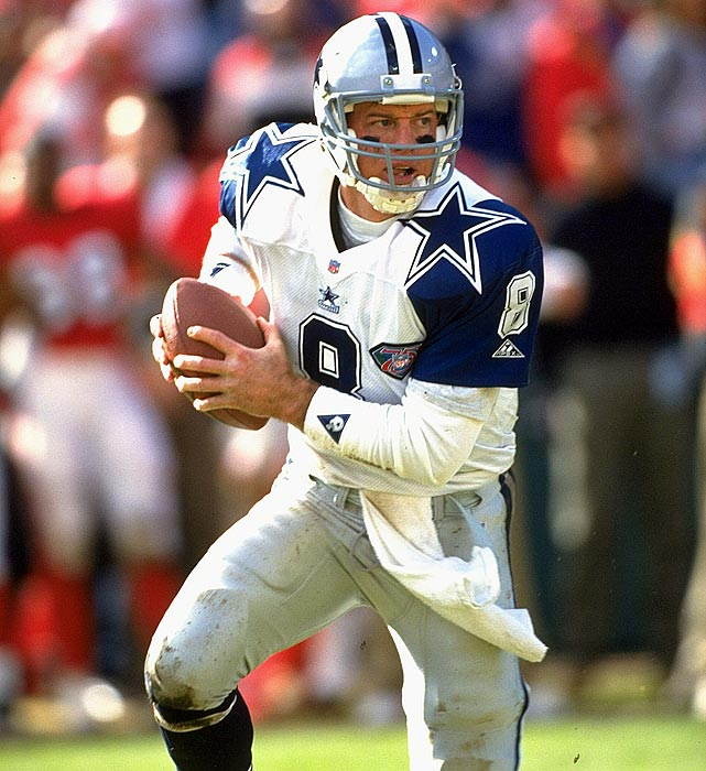 The Hall of Famer led Dallas to three Super Bowl titles, and his 90 wins during the 1990s rank third for the most wins by a quarterback in a decade. He completed 61.5 percent of his passes during his career and tossed 165 touchdown passes. But his career was cut short by 10 concussions, the last of which came on a hit by LaVar Arrington in 2000.
