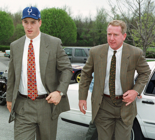 The Colts QB arrives at team headquarters alongside his father, Archie, the second pick in the 1971 draft. The Colts were torn between the 11-time Pro Bowl quarterback and Ryan Leaf. They made the right choice, and the franchise has had a winning record in all but two seasons in Manning's career.