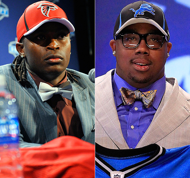 Alabama's Julio Jones (left) and Auburn's Nick Fairley showed their Yellowhammer State unity by sporting similar neckware at the 2011 NFL Draft at Radio City Music Hall in NYC.