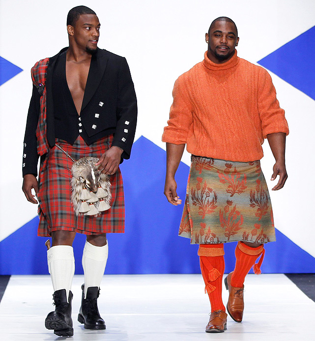Giants backfield teammates Danny Ware (left) and Ahmad Bradshaw tapped into their Scottish roots at the 2011 Dressed To Kilt charity fashion show in New York.