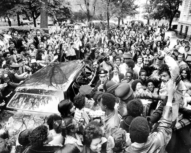 Jackson gets mobbed by fans at City Hall in New York in 1973 after the Knicks won the championship.