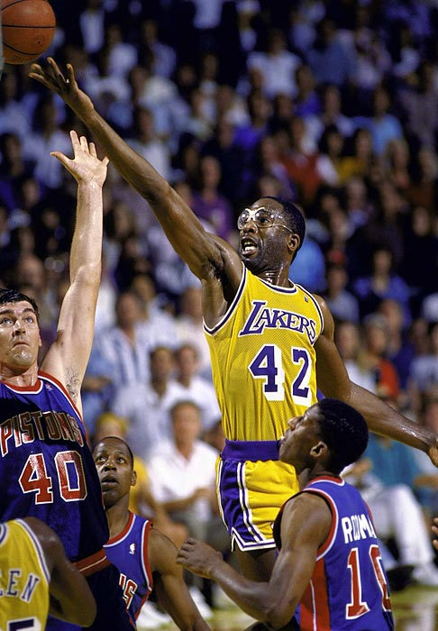 "With the Lakers trailing the Pistons 3-2 heading into Game 6, ""Big Game James"" pumped in 28 points and nine rebounds to keep L.A.'s season alive. And in Game 7, he had one of the most memorable triple-doubles in NBA history, going for 36 points, 16 rebounds and 10 assists in a close victory."