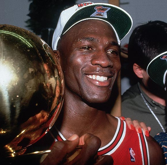 Jordan cemented his legacy with dominant performances in each of the Bulls' six championships. He put up absurd scoring totals in his first three Finals, averaging 31.2 points in a 4-1 defeat of the Lakers, 35.8 points in a 4-2 defeat of the Trail Blazers and a whopping 41 points (with 8.5 rebounds and 6.3 assists) in a 4-2 triumph over the Suns. After coming out of retirement, Jordan picked up where he left off in the 1996 Finals against the SuperSonics, averaging 27.3 points in Chicago's 4-2 series win. The Bulls' last two Finals victories came against the Jazz. In '97, Jordan famously scored 38 points while batting the flu in a Game 5 victory. In Jordan's final championship series, he nailed the serires-winning jumper in Game 6.