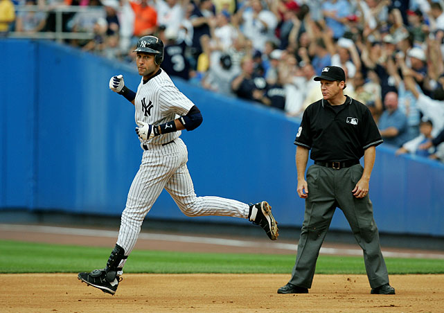 Through the first nine and a half seasons of his career, Jeter hit .336/.379/.403 with the bases loaded, but in 153 opportunities, he had never hit a grand slam. Until, that is, he went deep with the bags soaked against the Cubs' Joe Borowski, a one-out shot to left-center in the bottom of the sixth inning that remains his only career slam.
