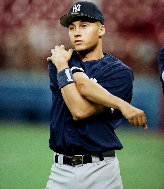 After going 0-for-6 to start his major league career, Derek Jeter picked up his first hit in the fifth inning of his second major league game, at Seattle's Kingdome. Jeter led off the inning with a ground-ball single through the shortstop hole off the Mariners' Tim Belcher and ultimately came around to score his first run. He singled and scored in his next at-bat as well.