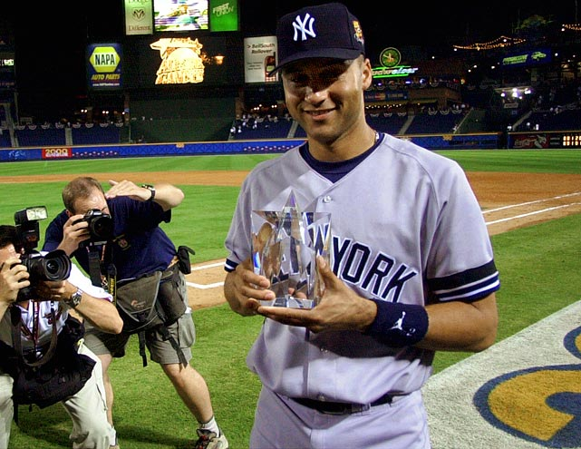 Jeter remains the only player ever to win All-Star and World Series MVP honors in the same season. He picked up the former thanks to a 3-for-3 performance as the AL's starting shortstop that was capped off by a tie-breaking, two-RBI, single to center off the Mets' Al Leiter in the top of the fourth at Turner Field. The AL won 6-3.