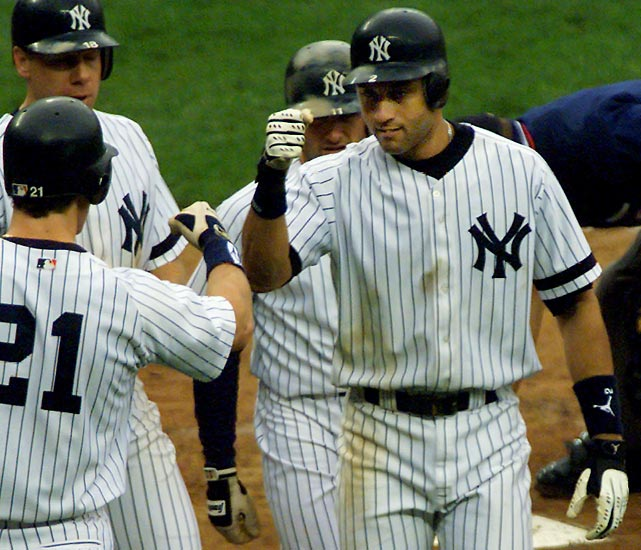 Jeter's 1,000th hit was a ground-ball single off Tigers' knuckleballer Steve Sparks with one out and a man on first in the bottom of the fifth at Yankee Stadium. It was the second of three hits he had in that game.