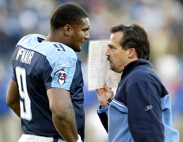 """Jeff Fisher and the Houston Oilers drafted Steve McNair with the No. 3 pick in 1995, but """"Air McNair"""" didn't crack the starting lineup until 1997 when the team moved to Tennessee. From that point on, Fisher and McNair won 76 games together and morphed into an AFC powerhouse. They memorably came one yard short of winning the Super Bowl in 1999."""
