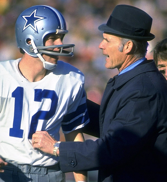 """The Cowboys became """"America's Team"""" thanks to the work of Tom Landry and Roger Staubach. The legendary Landry did his greatest work with Staubach under center, winning 84 regular-season games over 10 years and teaming up to win two Super Bowls. The tandem helped Dallas become one of the NFL's greatest dynasties and carried the Cowboys to nine of the franchise's record 20 consecutive winning seasons."""