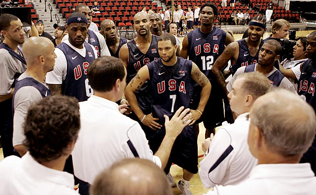 Krzyzewski addresses the 2008 United States Olympic team after a practice in Las Vegas. The U.S. won Olympic gold in Beijing in 2008.