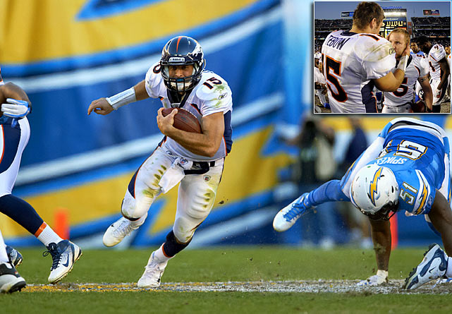Tebow didn't lead his team to an overtime victory until after San Diego kicker Nick Novak missed a 53-yard attempt. With 29 seconds to go in the divisional contest, Matt Prater (inset) kicked a 37-yard field goal to give Denver the win. Tebow's 22 carries were the most in his short NFL career.