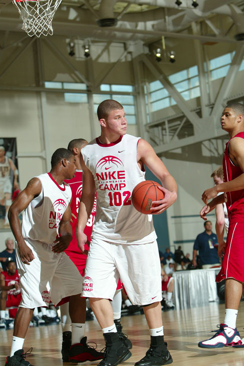 The Oklahoma Christian School product intimidates at the 2006 Nike All-American Camp in Indianapolis .