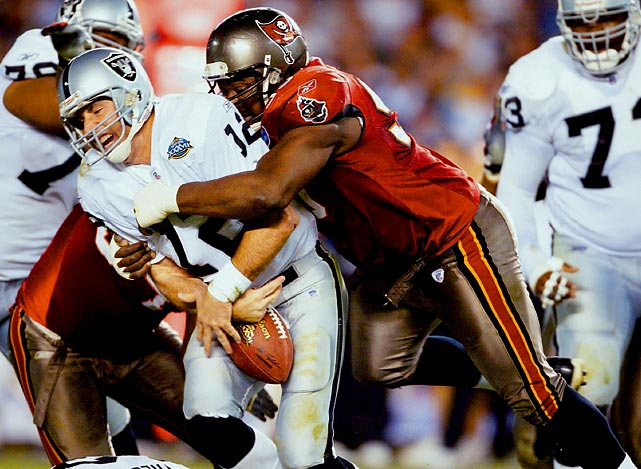 Right up until that final season, Sapp obliterated offensive linemen.  He had 10 sacks in 2006, his next-to-last year, marking the fourth time  in his career that he hit double digits in that category.   His Credentials:  Seven-time Pro Bowl selection,  six-time All-Pro, Super Bowl XXXVII champion, 1999 NFL Defensive Player  of the Year, named to NFL's All-Decade Team for the 1990s and 2000s,  finished with 96.5 career sacks   Others in Consideration:  Haloti Ngata (2006, Ravens); Warrick Dunn (1997, Buccaneers); Jim Lachey (1985, Chargers); Clay Matthews (1978, Browns)