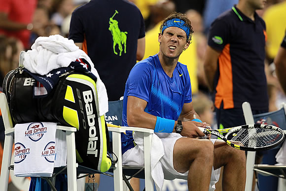 This is the kind of face most people make when facing Novak Djokovic, like Rafael Nadal was at the 2011 U.S. Open.