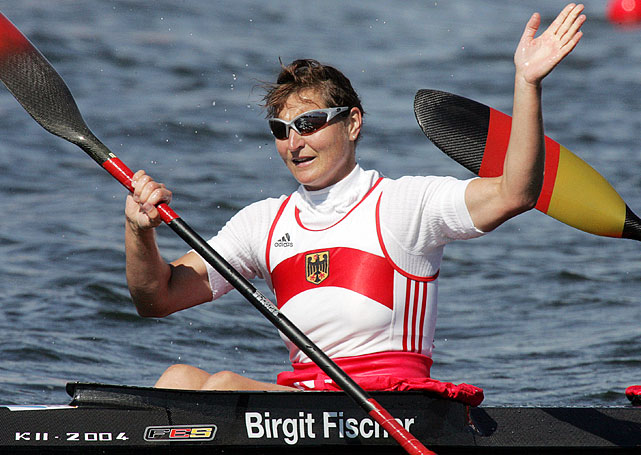 Fischer's Olympic career spanned seven Games, in which she represented both East Germany and Germany, with the boycotted 1984 games in between.  She was both the youngest and oldest canoeist to win a gold -- at age 18, and then at 42.  Even after retiring three times from the sport, her passion never died -- her eight gold medals are a testament to her talent never fading either.