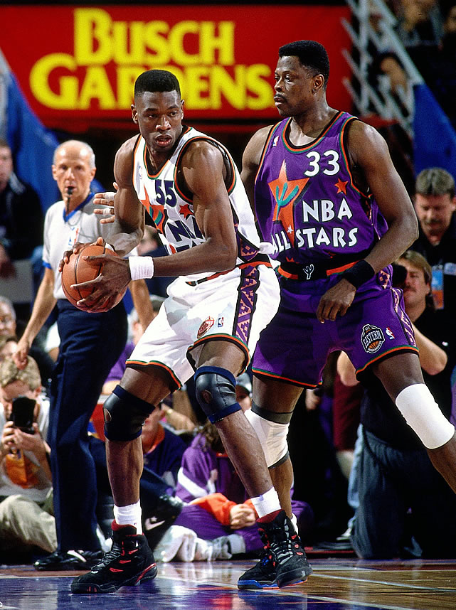 Former Georgetown greats Dikembe Mutombo (in white) and Patrick Ewing (in purple) look especially ridiculous wearing those threads from '95.
