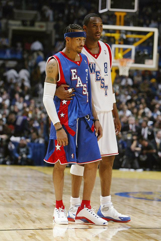 Allen Iverson and Kobe looked sharp with the diagonal block lettering.