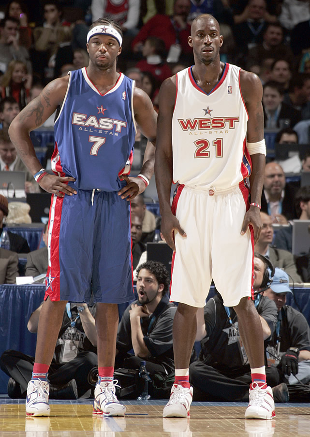 Here's Kevin Garnett (in white), playing for the West team during his Minnesota Timberwolves days, along with Jermaine O'Neal.
