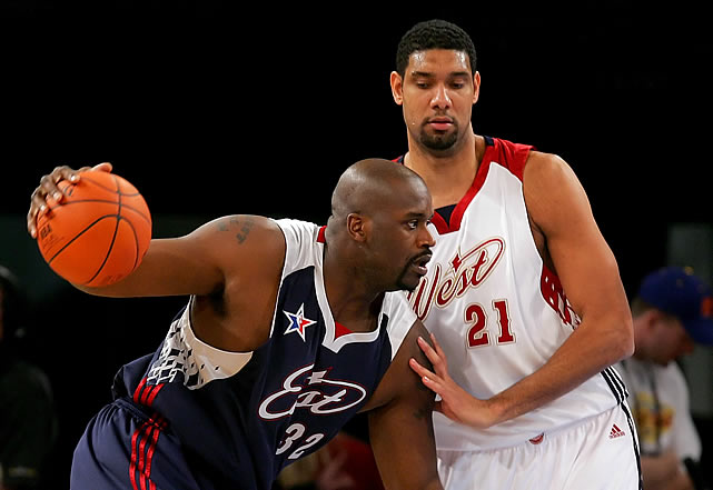 There's no NBA team in Vegas, but they did host the game in 2007. Here's a photo of Shaq and Tim Duncan to prove it.