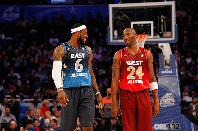 LeBron and Kobe admiring each other's threads last year.