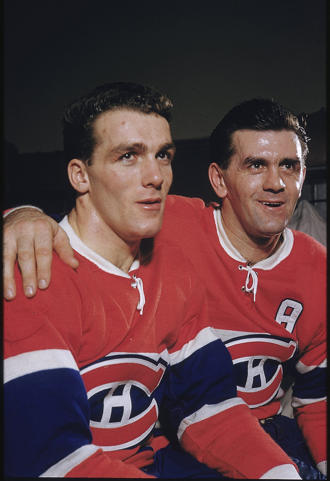 """Maurice """"Rocket"""" Richard (right) was another legendary captain of the Montreal Canadiens. He played 18 seasons for the Habs and led them to four consecutive Stanley Cups (and winning another four as a player). He was also the premiere goal scorer of his generation: Richard's 82 playoff goals is good for eighth on the all-time list, and he has an award named after him presented to the player who scored the most goals during the regular season."""