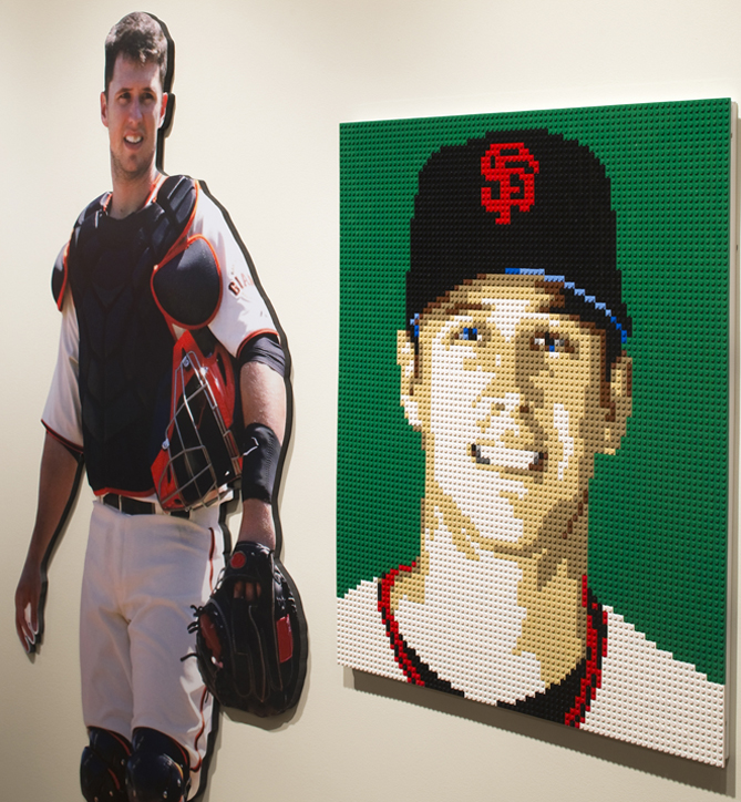 """The other ballplayers immortalized in Legos are Joey Votto and Buster Posey. """"We thought that was a nice, well-rounded representation of Slugger guys, and the country,"""" Jewell says."""