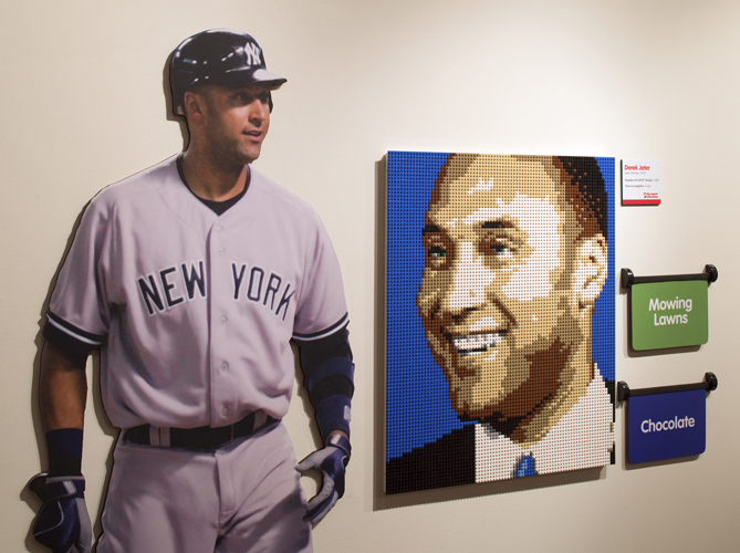 """The third attraction at the Louisville Slugger Museum & Factory Lego exhibit is portraits of MLB superstars. """"Louisville Slugger has contracts with lots of players, old and current,"""" Jewell says. """"Since Legos are so sort-of kid-focused, so kids today would probably be more familiar with current players. So the museum went with some of today's biggest names, like Yankees' captain Derek Jeter."""