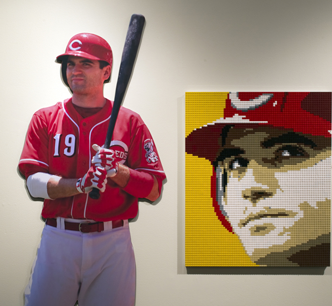 """""""I think my favorite piece is the Joey Votto portrait,"""" Jewell says. """"I love the composition of it and the color scheme and so on, the look on his face. I just think, graphically, it's a terrific work of art."""""""