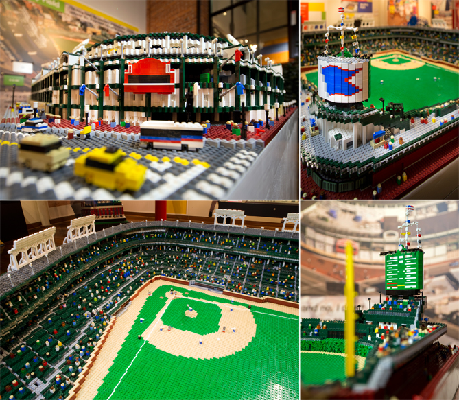 """Because of its size, Wrigley Field is incredibly detailed, from the iconic scoreboard on the outside of the park to the scoreboard to the stands full of people.""""It's amazement. It's pure, just the big wow,"""" Jewell says about the reaction people have when they enter the exhibit. """"The room is so bright and colorful, which is exactly what we wanted to capture with the graphics beyond the Lego pieces, you just feel like you're walking into this wonderland of action and fun."""