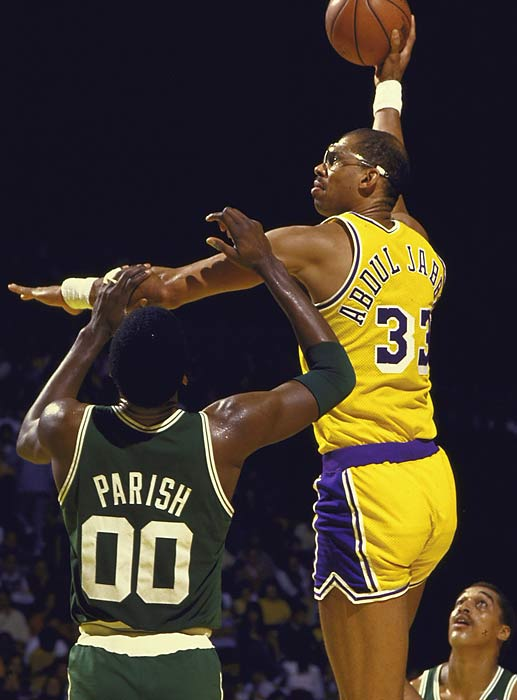 "Using his trademark skyhook, the 7' 2"" Abdul-Jabbar was the dominant center of the 1970s and early '80s. He won six NBA championships -- one with the Milwaukee Bucks and five with the Los Angeles Lakers -- and ranks second in career points scored in the Finals (1,317)."