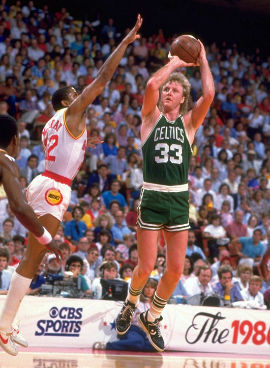 A pure shooter, Bird led the Boston Celtics to four straight NBA Finals from 1983--84 through '86--87. The three-time NBA champion's signature performance came in the '86 Finals against the Houston Rockets: He averaged 24 points, 9.7 rebounds, and 9.5 assists per game.