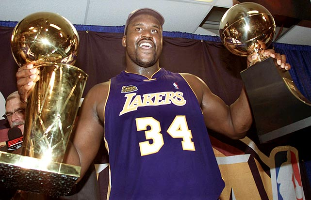 "No big man dominated the Finals like Shaq. He led the Lakers to three straight titles from 1999--2000 through '01--02, and was named Finals MVP each time. The 7' 1"", 325-pound O'Neal ruled the paint, averaging 35.9 points and 15.2 rebounds per game in those three series."
