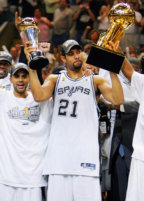 Duncan doesn't enjoy being in the spotlight, but that hasn't prevented him from playing his best in pressure situations. With his midrange bank shots, smooth inside moves, and dominant defense, the three-time Finals MVP has led the San Antonio Spurs to four championships.