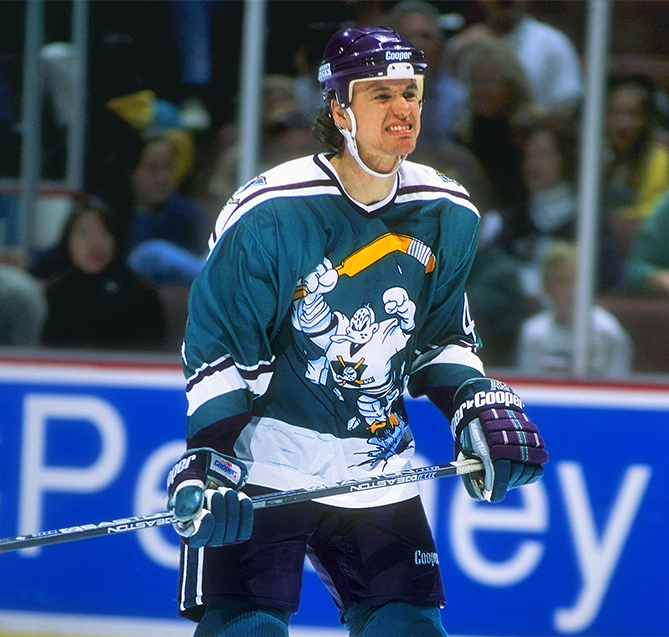 It's no surprise that a franchise named after a Disney comedy would have such funny, cartoonish uniforms. The third jerseys, with a duck bursting through the ice, were just plain awful.
