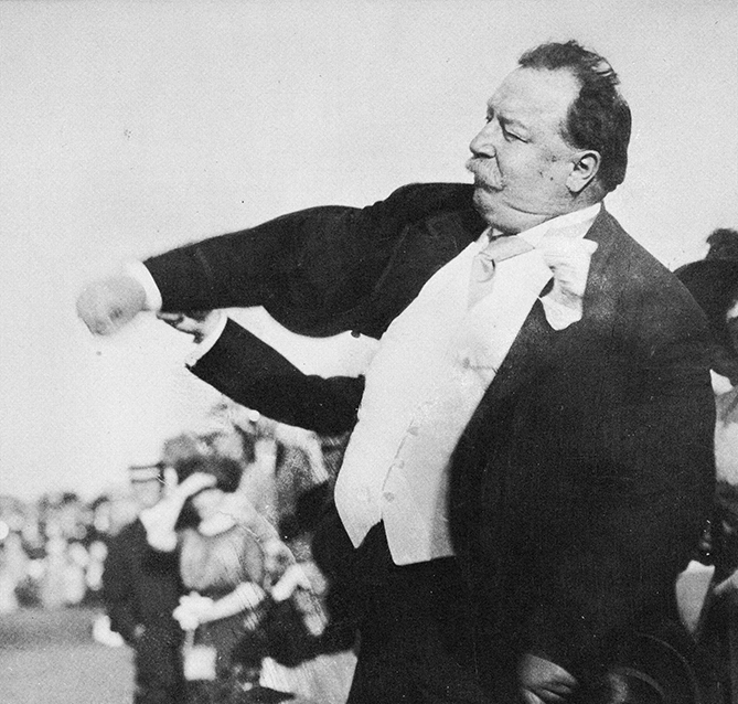 "President Taft inaugurated the presidential first pitch when he threw out the first ball on April 14, 1910, to open a game between the Washington Senators and the Philadelphia Athletics. (Washington won, 3-0.) He attended 14 games as President, and not just in Washington. He also watched two in Pittsburgh, one in Chicago, three in St. Louis, and one in Cincinnati. ""The game of baseball is a clean, straight game, and it summons to its presence everybody who enjoys clean, straight athletics,"" Taft said. ""It furnishes amusement to the thousands and thousands."""