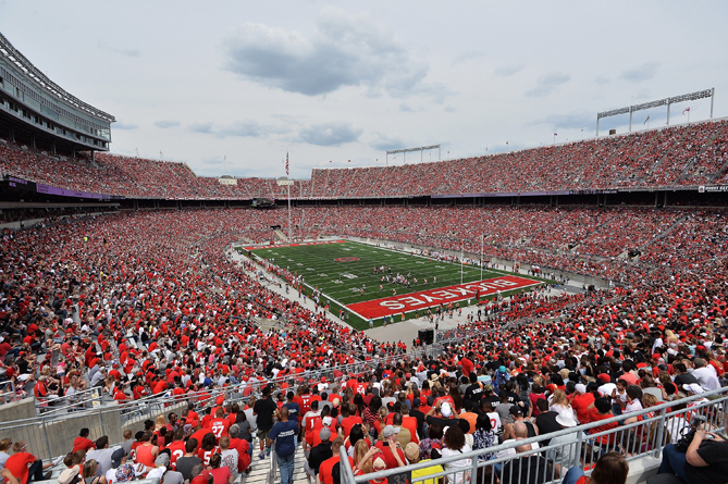 A general view of  Ohio Stadium as more than 99,000 fans packed in to watch the annual Ohio State Spring Game on April 18, 2015 in Columbus, Ohio.
