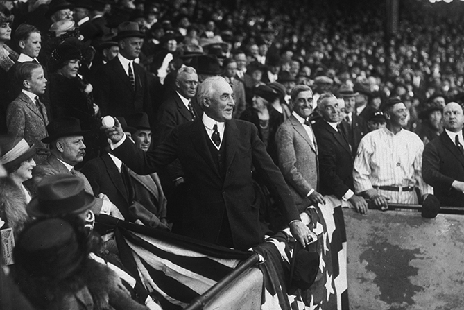 President Harding threw out three first pitches and attended a total of five games, four in Washington and one in New York. Harding was apparently a great baseball scorer and was a minor league team owner in Marion, Ohio.