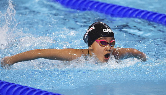 Alzain Tareq, 10, becomes the youngest ever competitor at the FINA World Championships. Alzain, who is from Bahrain and swam the 50-meter butterfly and freestyle races, dropped three seconds off her personal best time in the 50 free. Her goal is to compete at the 2020 Olympics in Tokyo.