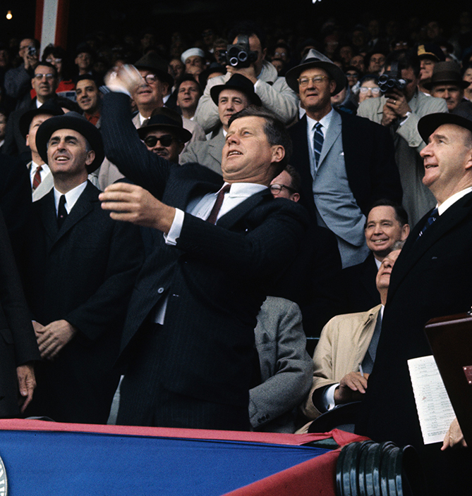 President Kennedy threw out three first pitches and attended four games total, all in Washington, including the 1962 All-Star Game.