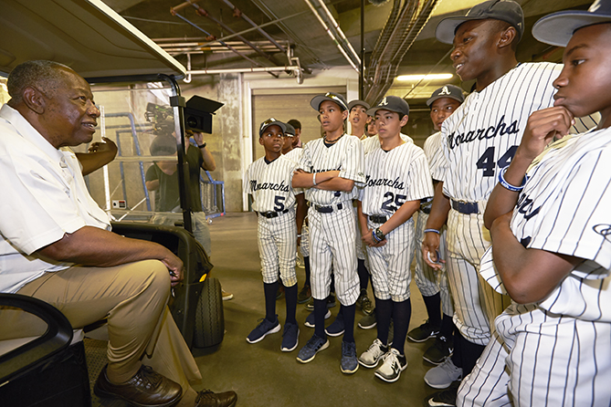 Hall of Famer Hank Aaron talked to the kids in Atlanta.