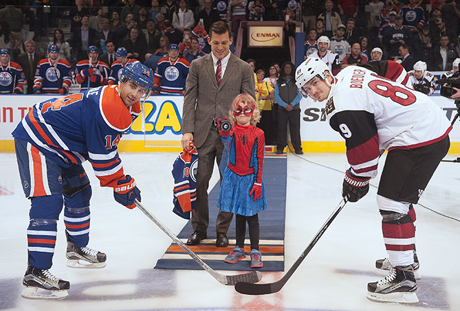 "Through the Children's Wish Foundation, six-year-old Mable, who has leukemia, is a superhero for a day. Her wish was to fight crime, and she had help from the city of Edmonton and Spider-Man himself. Spider-Mable saved Edmonton Oilers defenseman Andrew Ference after his mysterious ""kidnapping."" She then dropped the puck at that night's game against the Arizona Coyotes."