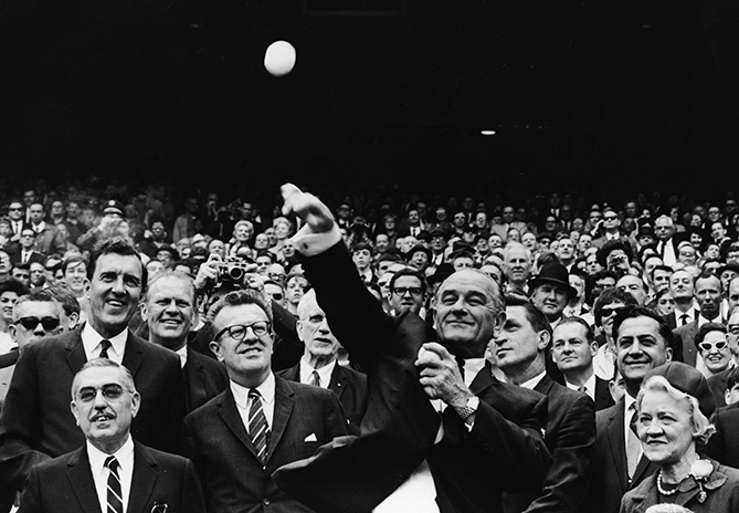 President Johnson threw three first pitches and attended four games total. One of those, on April 9, 1965, was an exhibition game in Houston that opened the Astrodome.