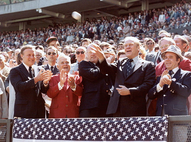 "President Ford attended and threw out first pitches at two games — one in Arlington and one in Philadelphia. But he tossed a total of three pitches, throwing right-handed then left-handed to open the 1976 All-Star Game. The only president never elected (he was appointed Vice President after Spiro Agnew stepped down, then took over after Nixon resigned), Ford played football before entering politics. Yet ""I had a life-long ambition to be a professional baseball player, but nobody would sign me."" The voters also rejected him, electing Jimmy Carter in 1976."