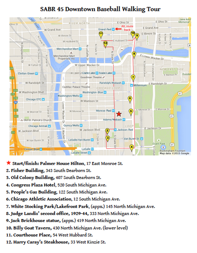 Here is a map of the SABR 45 Baseball Walking Tour, in case you visit Chicago and want to visit these landmarks on your own.